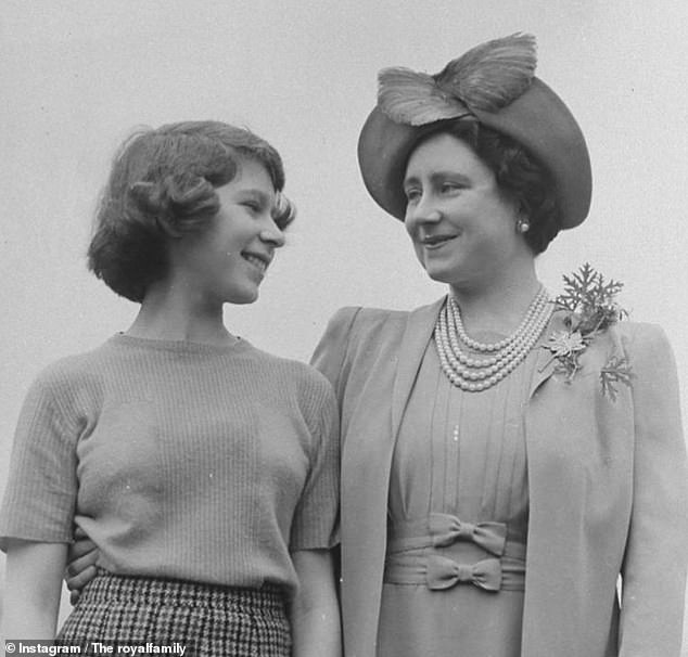 The Royal Family has shared a touching photograph of a young Queen, then princess Elizabeth, smiling with her mother at Royal Lodge in Windsor during WWII to mark Mother's Day (pictured)