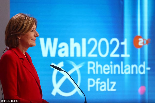 Malu Dreyer, Rhineland-Palatinate state Prime Minister and Social Democratic (SPD) party top candidate, gives a TV interview following first exit polls for the state elections, in Mainz, Germany, March 14