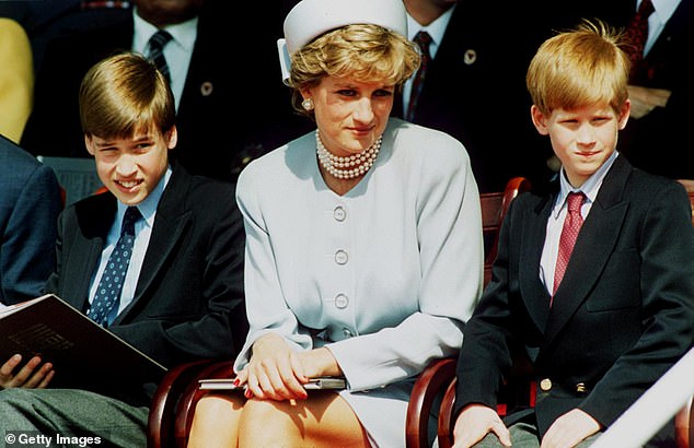 Prince Harry has arranged for flowers to be left at the grave of his mother, Princess Diana, while Prince William's children have written special cards for 'Granny Diana' on Mother's Day. The Princess of Wales is pictured with her two sons in 1995, two years before her death