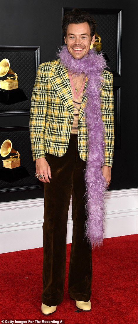 Flair: Styles opted for a plaid jacket with velvet trousers and teamed it with a purple feather boa