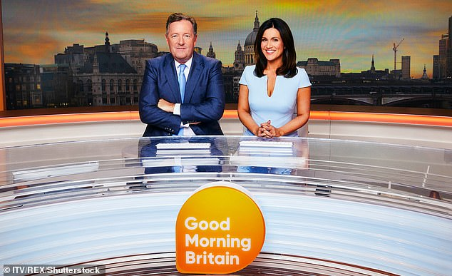 The backlash in Britain prompted Morgan to quit as co-host of Good Morning Britain. He is seen above with his former co-host, Susanna Reid
