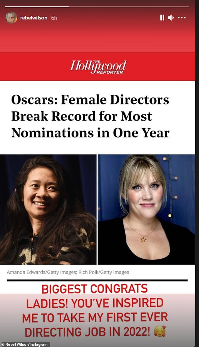 New goal:u00A0Rebel shared a photo of a Hollywood Reporter article detailing how female directors broke the record for most Oscar nominations