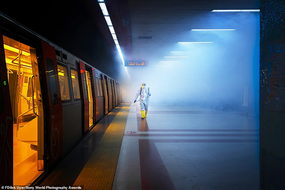 The street photography category winner is this striking picture by Turkish photographer F. Dilek Uyar of a train being disinfected in Ankara