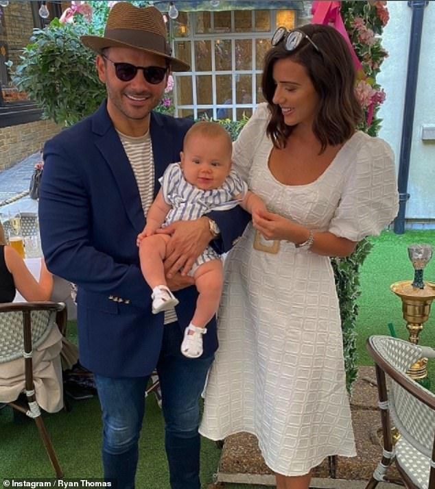 Family first: They've both been passionate about encouraging healthy lifestyles to fellow mothers on social media (Lucy pictured with son Roman, 12 months, and fiancu00E9 Ryan Thomas)