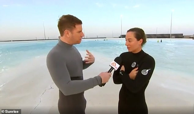 Eyes up here! Sunrise weatherman Sam Mac revealed a lot more than he bargained for on Thursday while wearing a skintight wetsuit during a live cross fromTullamarine, Melbourne