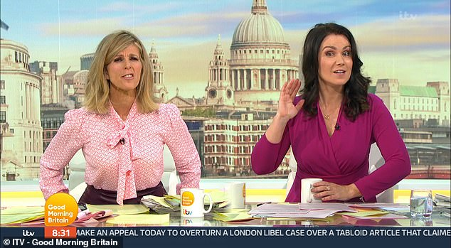 Gaffe: Susanna Reid and Kate Garraway were left confused on Thursday's Good Morning Britain as they tried to cut to Lorraine Kelly but she was nowhere to be seen