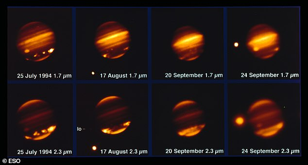 Comet Shoemaker–Levy 9 hit Jupiter in July 1994 (pictured) and molecules it left behind allowed researchers to track the speed of wind on the planet