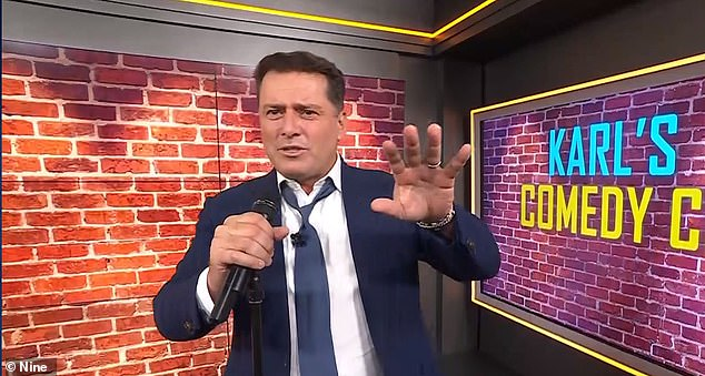 Karl Stefanovic left his co-hosts speechless after making a crude joke about the Royal Family during a stand-up comedy segment on Friday