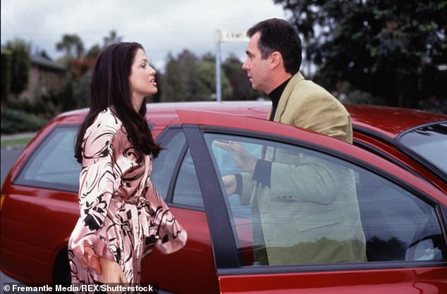Remember this? Alan is pictured withu00A0Nicola Charles in a classic scene from the show