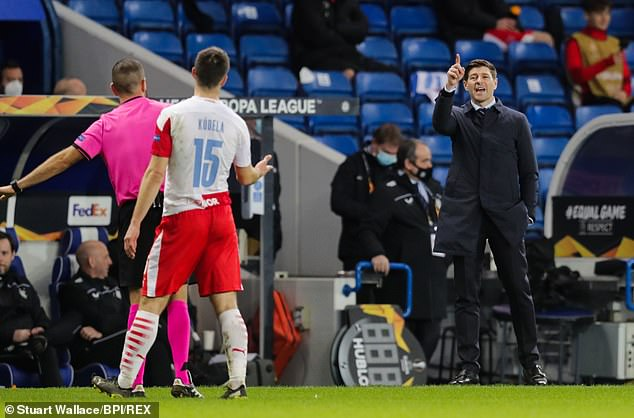 Gerrard was involved in heated discussions with Kudela and Slavia officials on the touchline