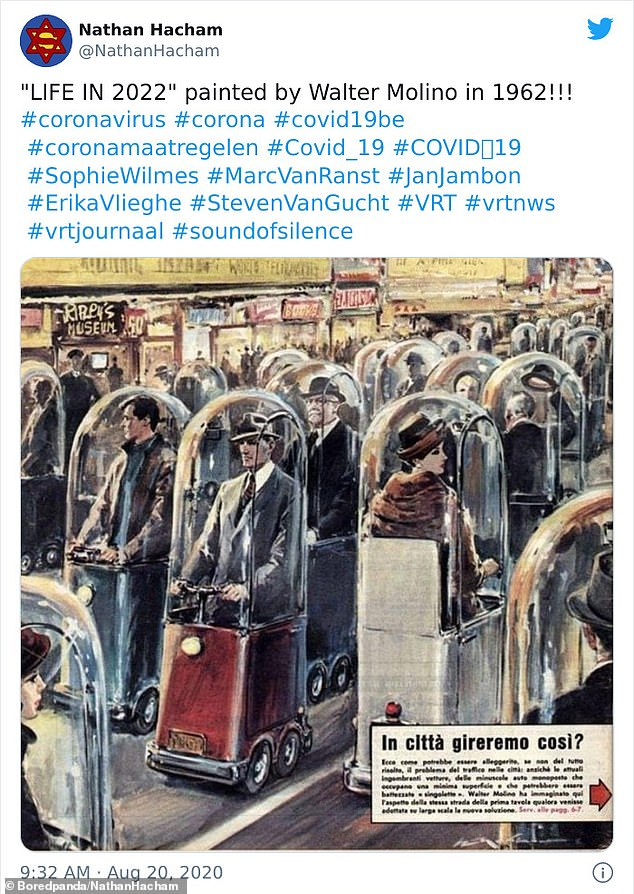 Amid the Covid-19 pandemic, one person was surprised at Walter Molino's 1962 painting of what life in 2022 would look like, which saw people travelling in one-person bubble cars