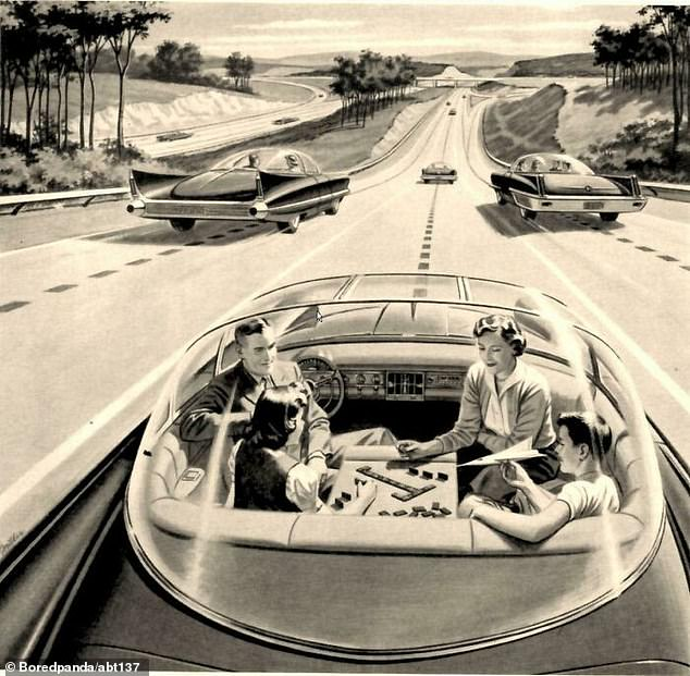 Another snap from 1960 predicted that people would be driving spacious self-driving cars, while they could enjoy playing board games on their journey