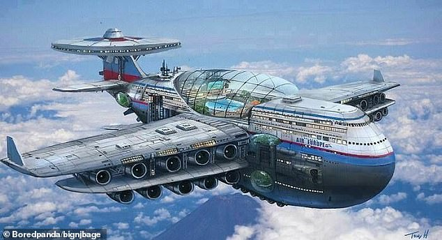 Retro pictures, collated by Bored Panda , show what people from decades ago thought the future would look like, including their predictions jetliner air travel (pictured)