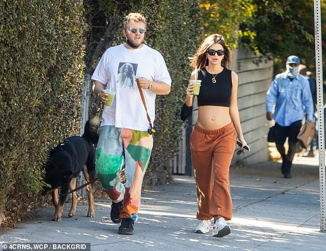 Baby bump: The brunette pictured with the film executive in November last year