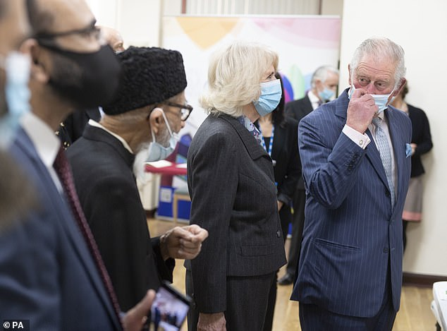 Prince Charles and the Duchess of Cornwall at a pop-up vaccination center at Finsbury Park Mosque in north London today