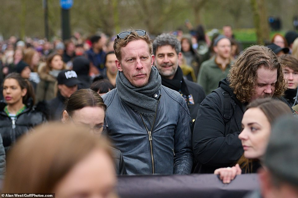 Laurence Fox is seen attending a rally in Hyde Park London. The actor is fighting to become the next mayor of London