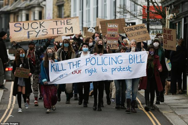 CORNWALL: A demonstration in Cornwall demanding the Policing Bill, which would hand the police more powers to deal with protests, be scrapped