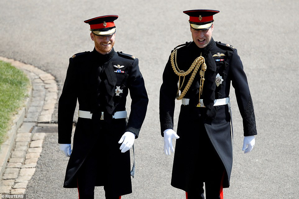 Prince Harry arrives with his best man Prince William at St George's Chapel, Windsor Castle, in 2018