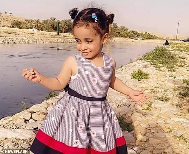 The girl, identified only by her first name Shahd (pictured), screamed as she was attacked by the dogs when she stepped out of her family's holiday home in the suburb of Al Washaila on March 12
