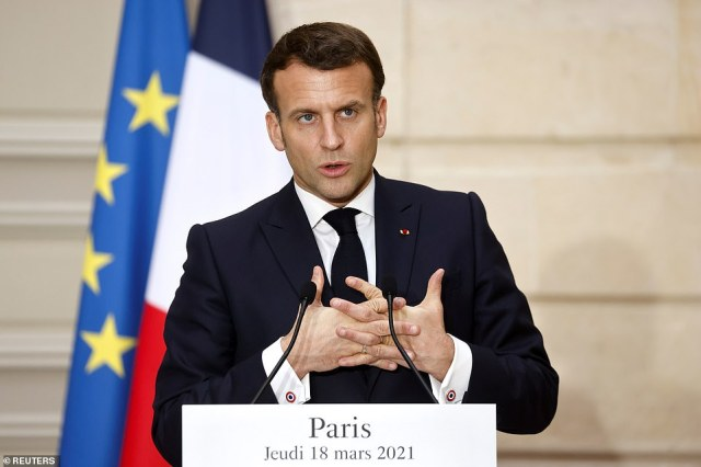 Brussels claims AstraZeneca has delivered only a third of the 90 million vaccine doses that it promised to the EU during the first quarter of this year, but has met its contract to supply the UK in full. Pictured: French President Emmanuel Macron