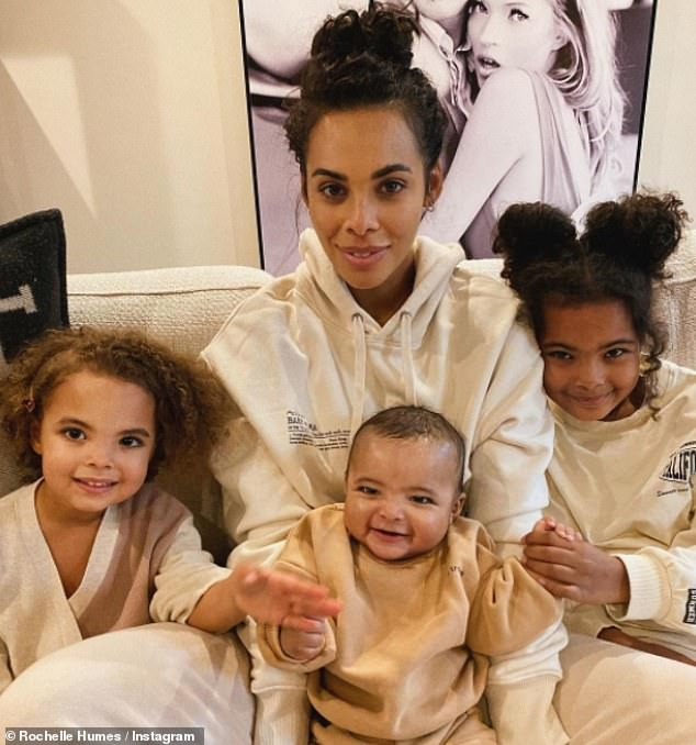 Sweet:u00A0Rochelle Humes took to Instagram on her birthday to share 'the first' photo taken with her three children - Blake, six months, Alaia-Mai, seven, and Valentina Raine, four