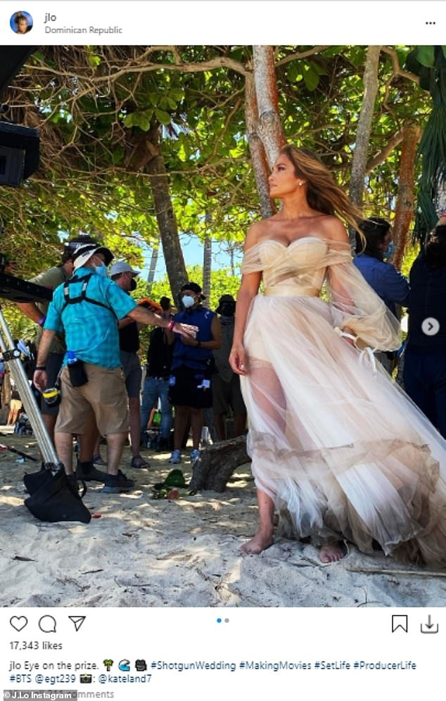 On set:u00A0Earlier this week Jennifer was seen kissing estranged fiance Alex Rodriguez in the Dominican Republic where she is now filming the movie Shotfun Wedding with Josh Duhamel