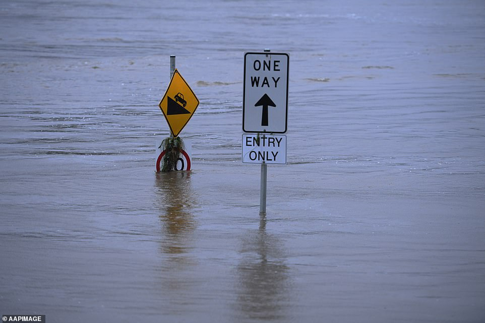 A 'one way' sign is almost completely underwater following a weekend of wild weather across NSW's east