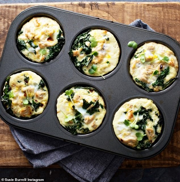 Susie Burrell, a mother-of-two and clinical dietitian from Sydney, shared her leek and spinach frittata muffin meal prep (pictured) on Instagram and said they make the perfect breakfast or light lunch teamed with soup or a salad