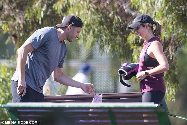 Couples who train together!u00A0The newlyweds were seen doing a couple workout at the park with their very own personal trainer