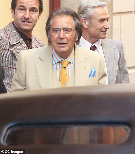 Main man: Al Pacino was also seen on Monday as he filmed his latest scenes in Rome