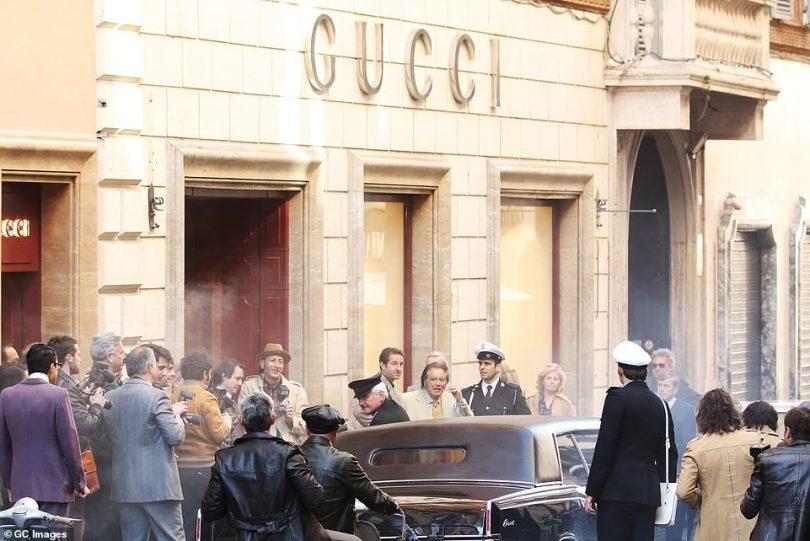 Iconic: Cameras rolled outsidea Gucci store on Rome's fashionable Via dei Condotti