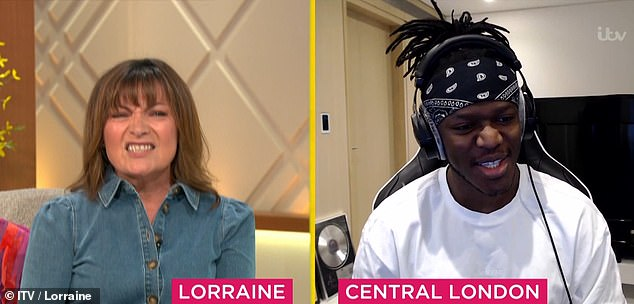 Chaos:Lorraine Kelly's show was thrown into chaos on Monday morning when a series of strange mishaps hijacked her interview with KSI