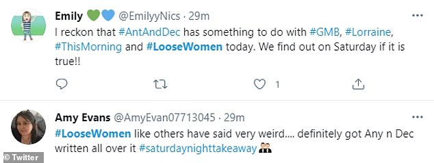 They're having a laugh: Throughout the day, viewers tweeted their conclusions that the antics across all three shows were part of a coordinated on-air prank