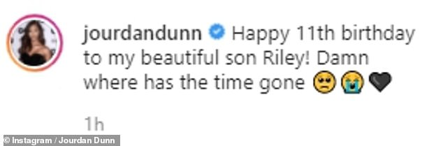 Milestone: Alongside a recent image of her child during a family dinner date, the bombshell wrote: 'Happy 11th birthday to my beautiful son Riley! Damn where has the time gone'