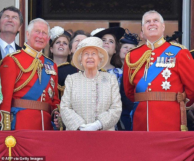 Irving also said the Queen was more drawn to being 'openly affectionate' withPrince Andrew (Pictured: Prince Charles, Prince Andrew and the Queen at Buckingham Palace in 2019)