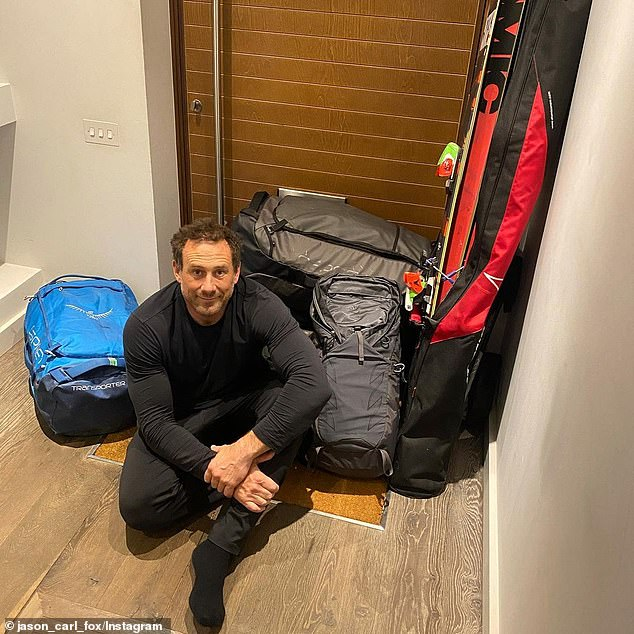 Back to it: Meanwhile, Jason shared a picture of himself with his luggage and wrote: 'Standard last minute packing shenanigans! Here we come Australia'