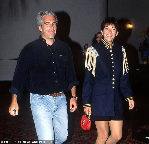 """In Maxwell's third bail application, his lawyers proposed to renounce his British and French citizenship """"immediately"""" as soon as possible to prevent him from fleeing the United States.  Maxwell is pictured with Epstein"""