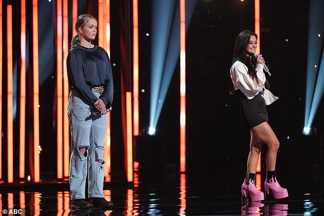 Team work:The pair's duet on Harry Styles' Sign Of The Times was starkly beautiful, but the judges felt Hannah carried the lead and Claudia dragged her down