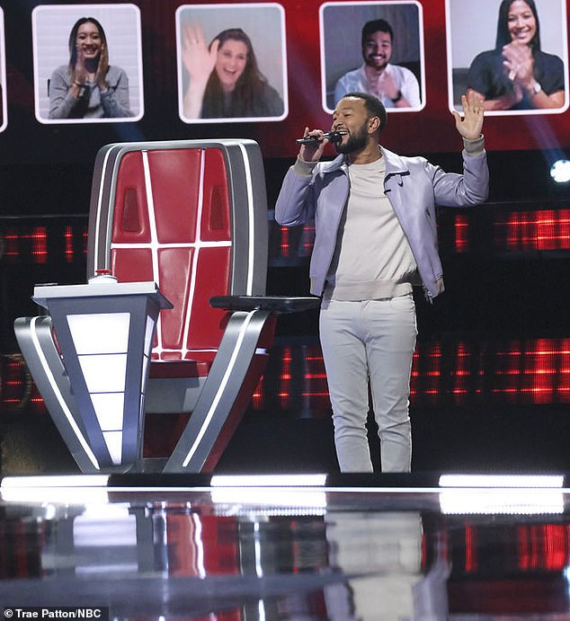 Swan song:Winning Denisha prompted John to belt out his catchy theme song, 'Welcome to Team Legend' for the last time