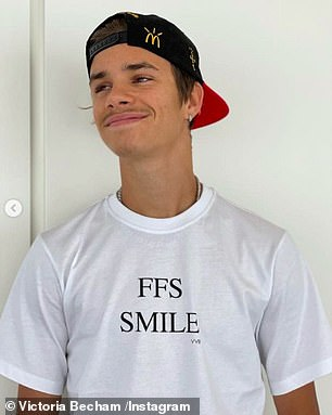 Joke: Romeo (pictured), 18, and Cruz (R), 16, mocked Victoria's serious face while wearing logo t-shirts with 'FFS SMILE' printed on them
