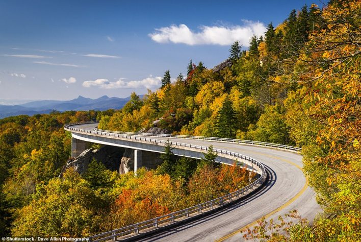 The U.S National Park Service has revealed its most-visited sites of 2020 - and it's the Blue Ridge Parkway, pictured, that comes out on top. It welcomed14.1million visitors last year