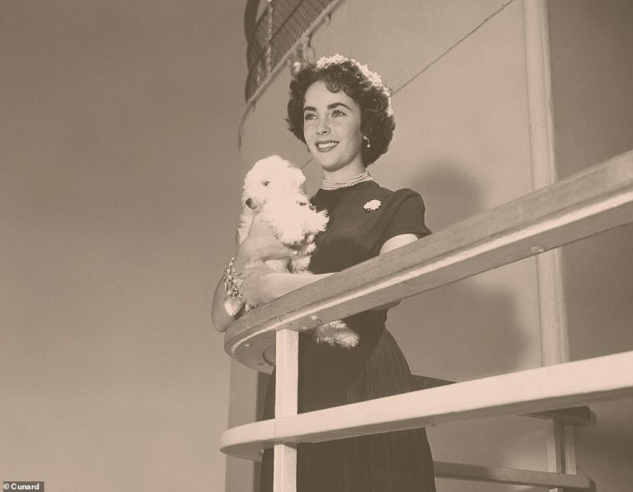 Glamour: Hollywood stars, including Liz Taylor, were regular Cunard passengers, along with royalty and musicians. Taylor is pictured here aboard the Queen Mary