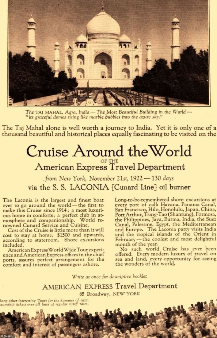 A newspaper advert for Laconia's 1922 around-the-world trip - which stated that 'no such cruise has ever been offered'