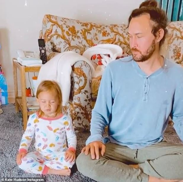 So cute!  Kate Hudson shared a cute clip of her daughter Rani, two, doing a little meditation with her dad Danny Fujikawa on Tuesday.