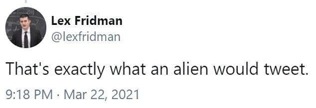The post appears to conclude that extraterrestrials do not exist, due to most images showing floating blobs, but many of the comments argue otherwise. One user poked fun at the CEO saying the tweet is something an alien would share