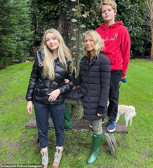 Loves of her life: On April 9, Paltrow will celebrate the 15th birthday of her son Moses(R, pictured November 26) from her decade-long marriage to Coldplay frontman Chris Martin, which ended in 2014