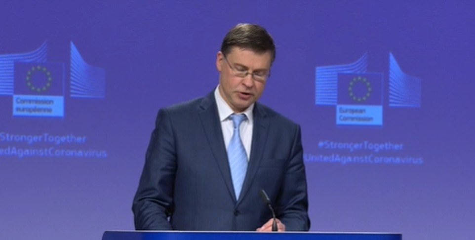 At a press conference in Brussels, vice-president Valdis Dombrovkis complained that the EU had exported 43million doses to 33 countries since January