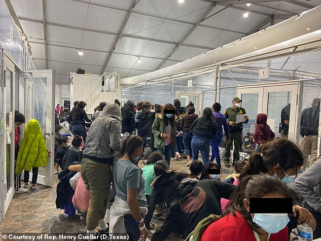 The pictures show inside the U.S. Customs and Border Protection temporary overflow facility in Donna