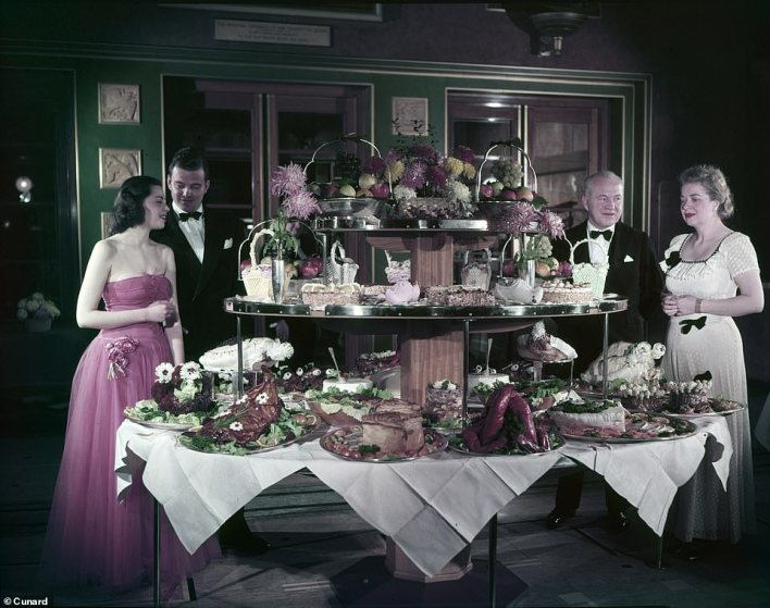 The buffet in the Queen Mary's first-class dining room in the 1960s was quite something to behold