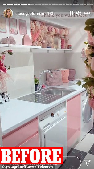 Difference: She posted a poignant video - showing the striking transformation of her beloved pink utility room